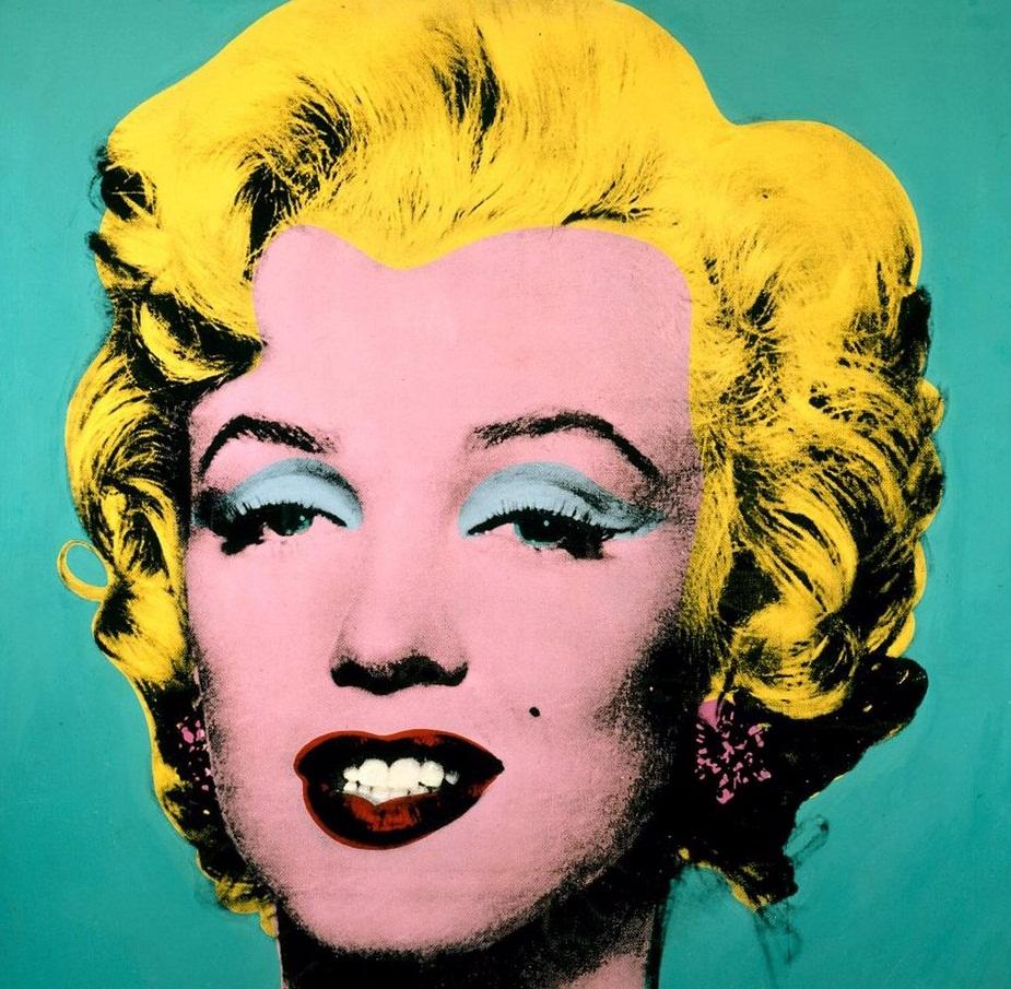 Un exemple d'une toile obtenue par sérigraphie, Marylin Turquoise, 1964.